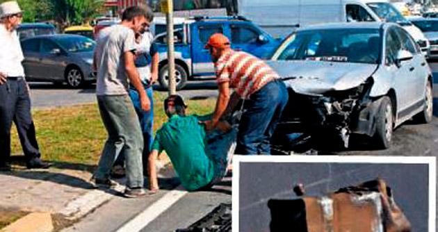 Aracın yakıt deposu fırladı, sürücü bayıldı