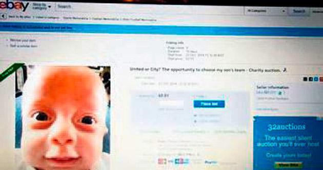 Bebeğinin taraftarlığını açık arttırmada satıyor