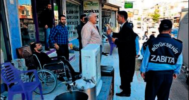 Mersin'de kaldırım işgalleri sona eriyor