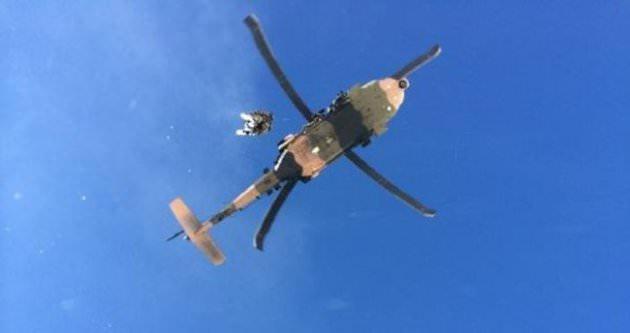 Yaylada mahsur kalan işçiler için helikopterle kurtarma operasyonu