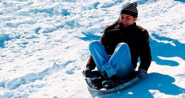 Beypazarı'nda kayak keyfi yaşadılar