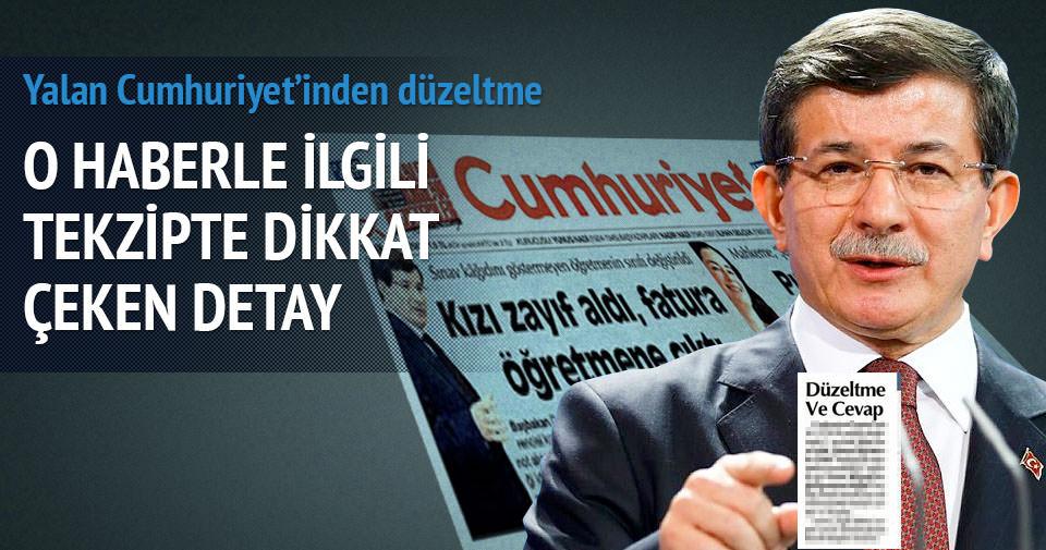 Cumhuriyet gazetesinden Davutoğlu tekzibi
