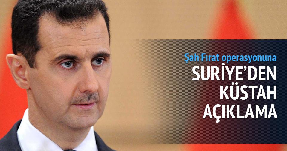 Suriye'den küstah açıklama