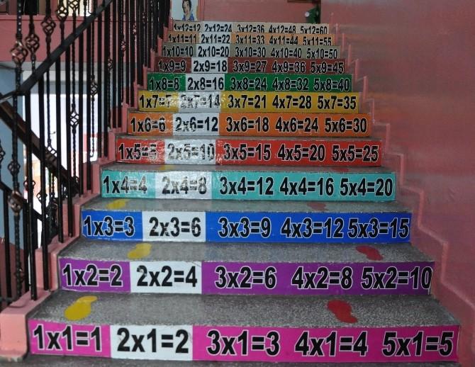 Öğrenciler Akıllı Merdivenden Çıkarak Derse Giriyor