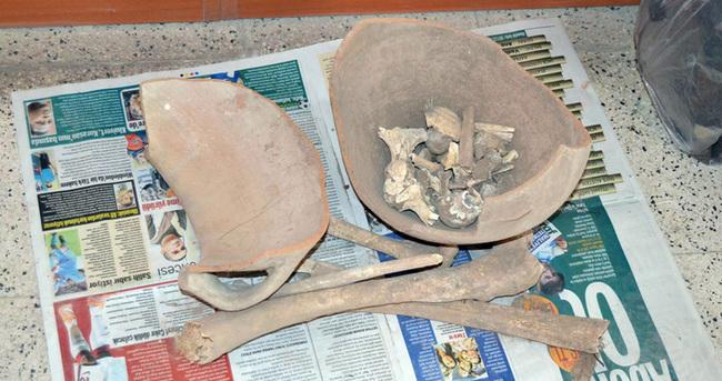 Küp içinde insan kemikleri bulundu