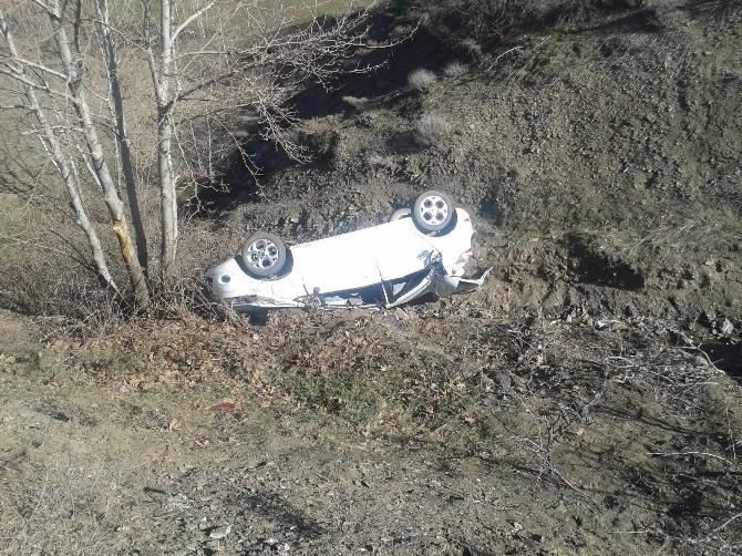 Otomobil Şarampole Uçtu: İki Yaralı