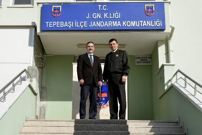 Başkan Ataç'ın İlçe Jandarma Komutanlığı Ziyareti
