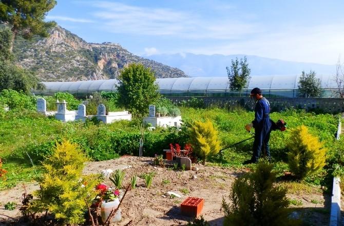 Demre'de Mezarlık Bakım Çalışmaları Devam Ediyor