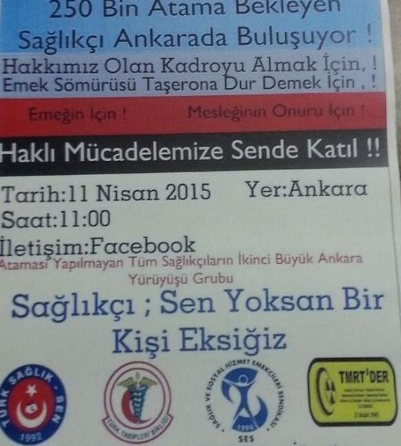 Ataması Yapılmayan Sağlık Çalışanları 11 Nisan'da Ankara'da Buluşuyor
