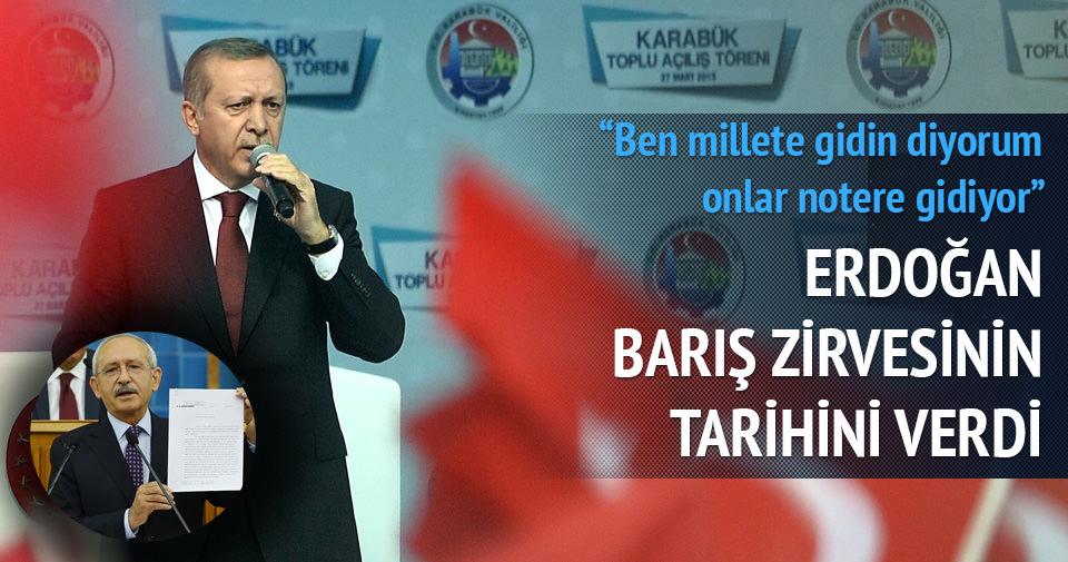 Erdoğan Barış zirvesinin tarihini verdi