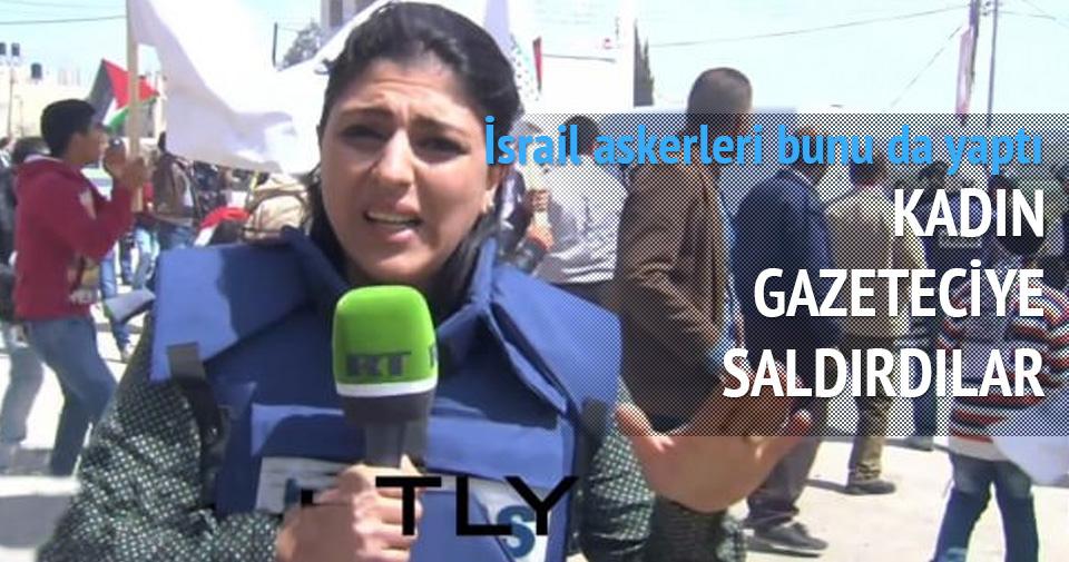 İSRAİL ASKERLERİ KADIN GAZETECİYE SALDIRDI
