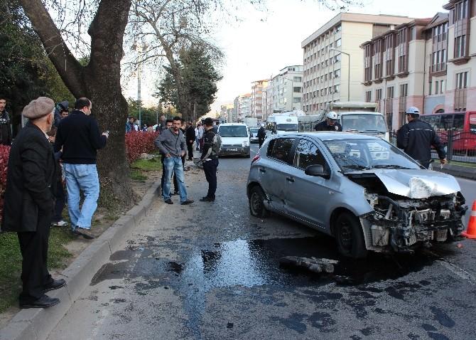 Ordu'da Otomobil Direğe Çarptığı: 1 Yaralı