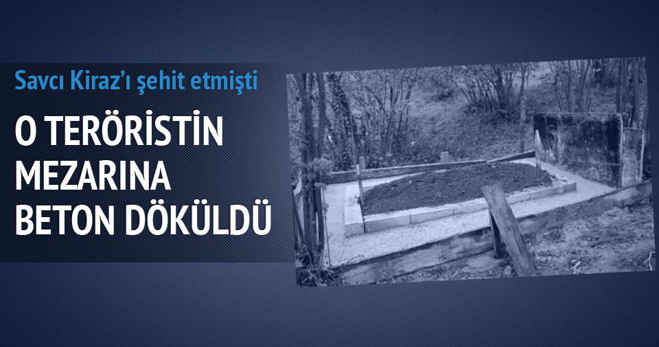 Terorist Şafak Yayla'nın mezarına beton döküldü