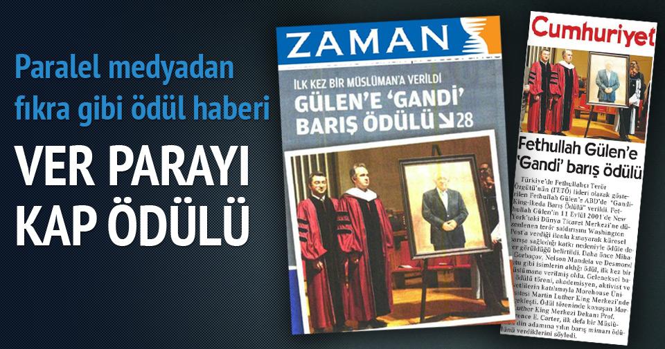Gülen kendi ödülüne sponsor oldu!