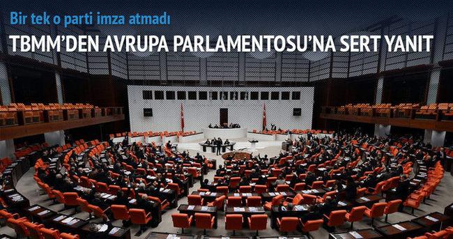 TBMM'den Avrupa Parlamentosu'na yanıt