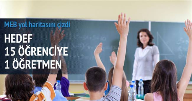 15 öğrenciye bir öğretmen
