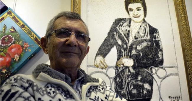 Binlerce toplu iğneden Zeki Müren tablosu yaptı