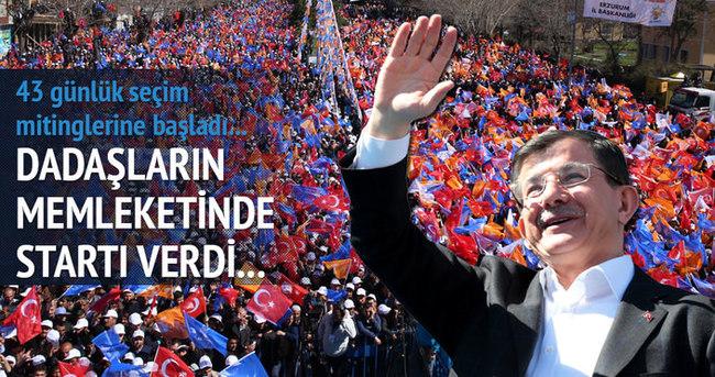 Başbakan Davutoğlu Erzurum'da seçim startını verdi