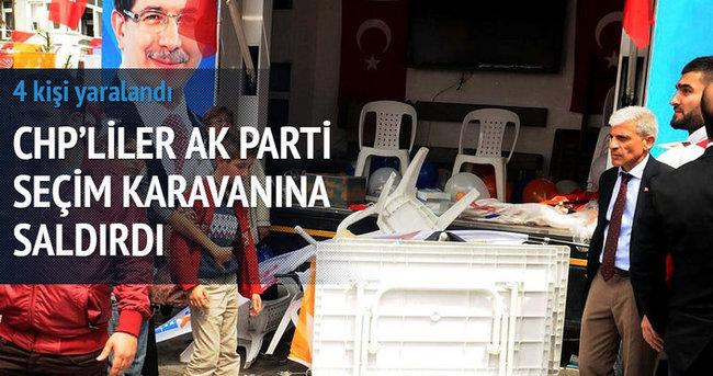 CHPliler AK Parti seçim karavanına saldırdı