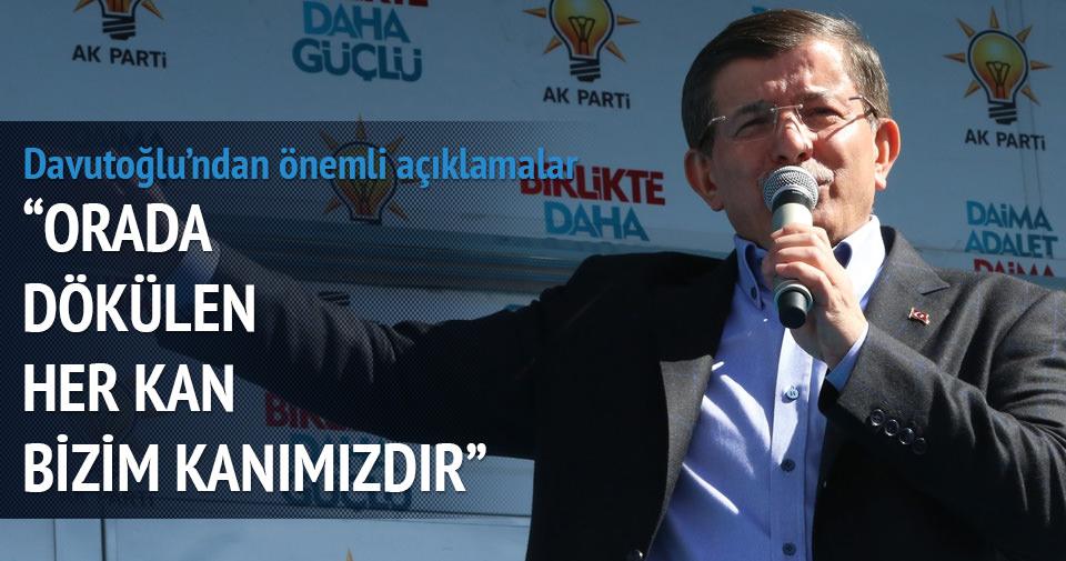 Davutoğlu: Kobani'de dökülen her Kürt kanı bizim kanımızdır