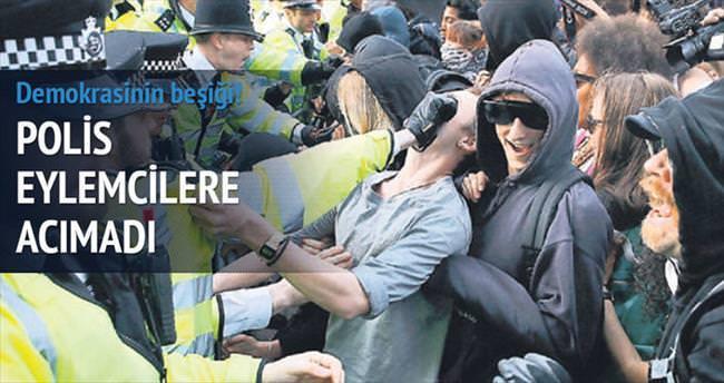 İngiltere'de polis eylemcilere acımadı