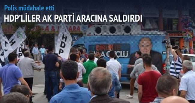 Tekirdağ'da HDP'liler AK Parti aracına saldırdı