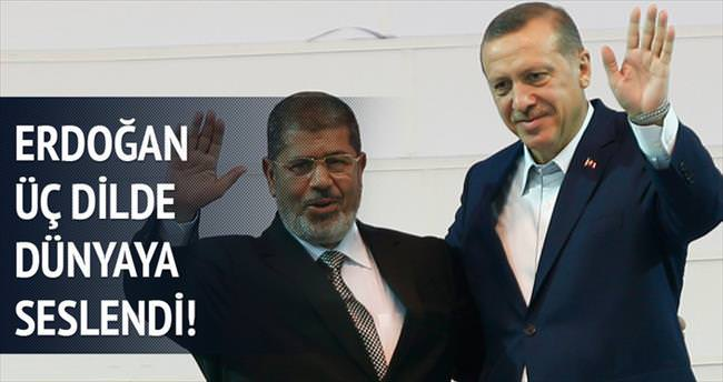 Erdoğan'dan Twitter'da Mursi'ye destek