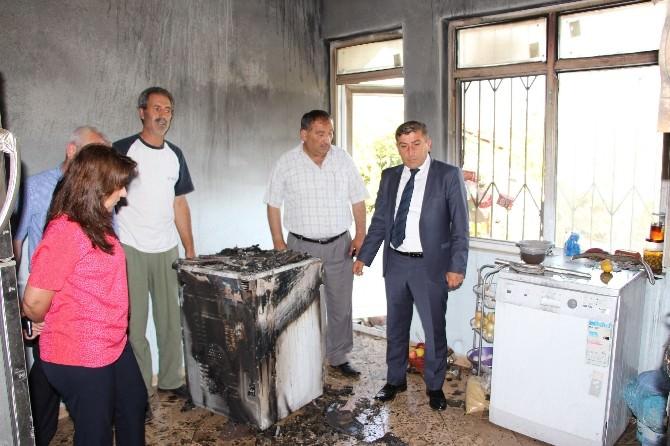 Evi Yanan Aileye Belediyeden Yardım Sözü