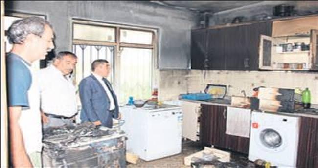 Evi yanan aileye belediye desteği
