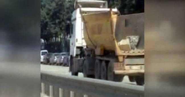 Hafriyat kamyonunun tehlikeli yolculuğu