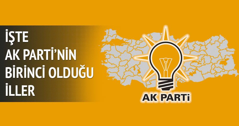AK Parti'nin birinci olduğu iller