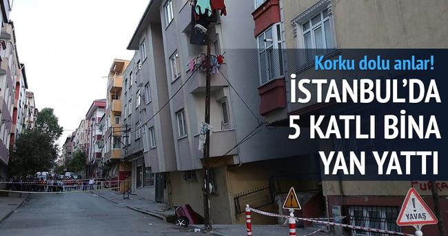 İstanbul'da Gaziosmanpaşa'da 5 katlı bina yan yattı