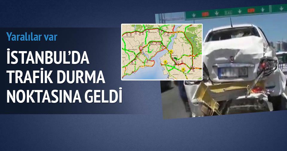 TEM'de trafik kazası: Trafik kilit!