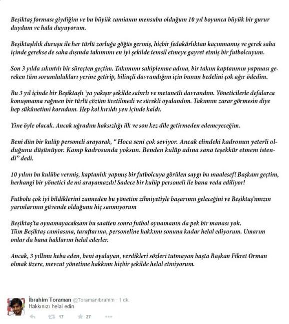 İbrahim Toraman Zehir Zemberek Açıklamalarla Futbolu Bıraktı