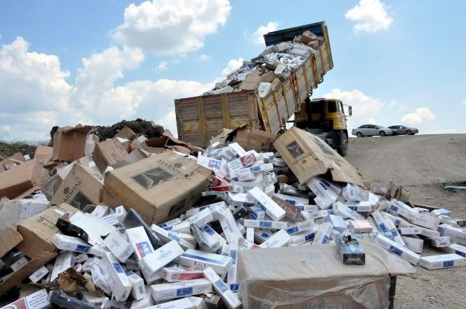 Uşak'ta 400 Bin Paket Kaçak Sigara İmha Edildi