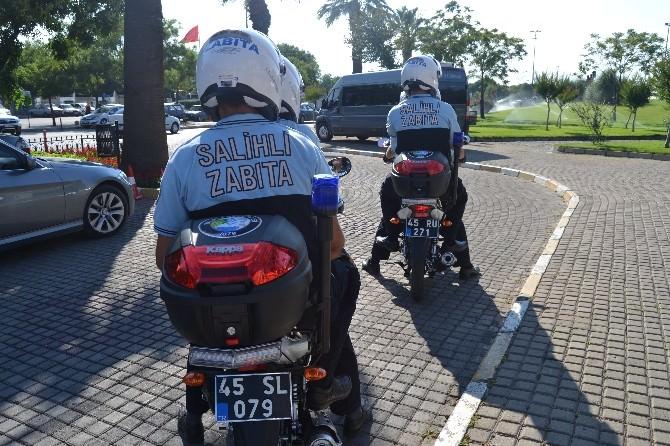 Salihli'de Motorlu Trafik Zabıta Ekibi İşbaşı Yaptı