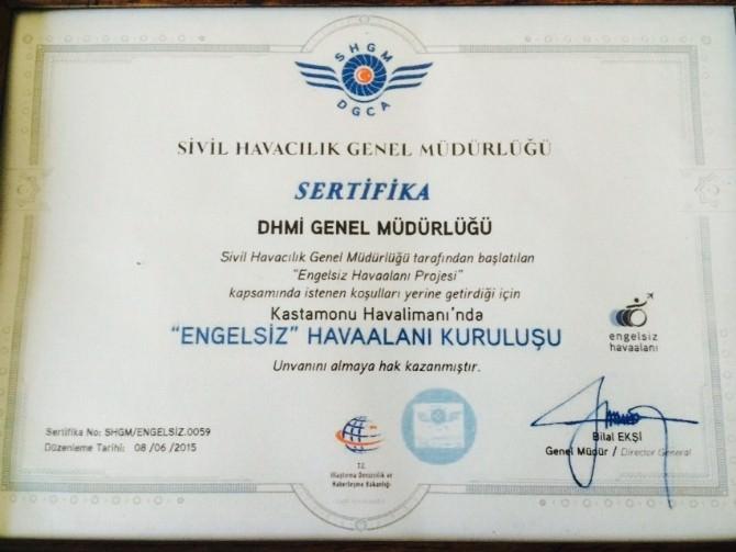Kastamonu Havaalanı, 'Engelsiz Havaalanı Kuruluşu' Sertifikası Aldı