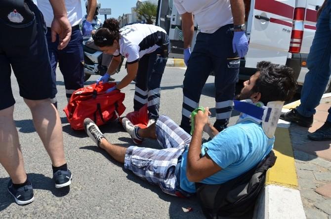 Motosiklet Sürücüsü Kazayı Ucuz Atlattı
