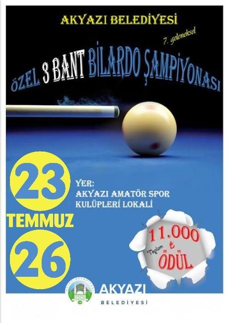 Akyazı'da Ödüllü 3 Bant Bilardo Turnuvası