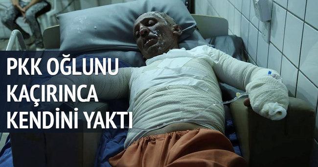 Oğlunu kaçıran PKK'yı protesto için kendini yaktı