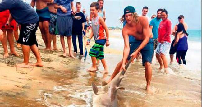 Sörfçüler köpekbalığını kuyruğundan yakaladı
