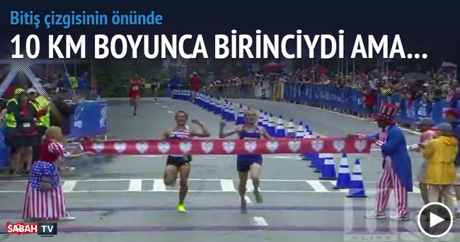 10 km koştu tam birinci olacaktı ki...