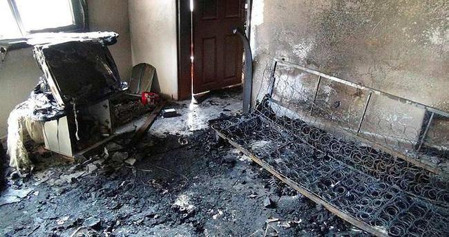 Önce dövdü sonra evi ateşe verdi