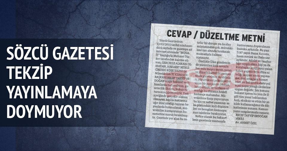 Sözcü gazetesi tekzip yayınlamaya doymuyor