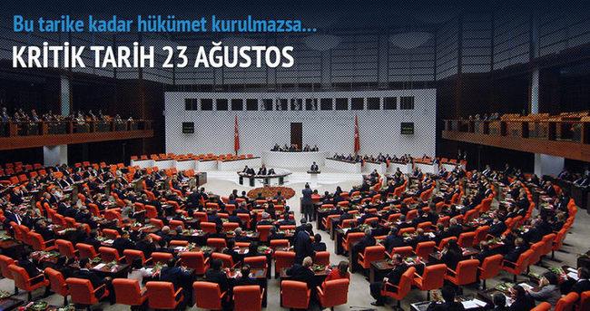 Hükümetin 23 Ağustos'a kadar kurulması gerekiyor