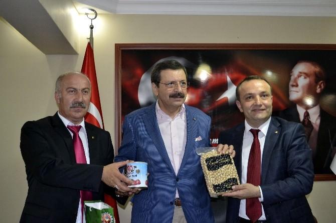 TOBB Başkanı Rıfat Hisarcıklıoğlu Alaplı TSO Başkanı Recep Ocak'ı Ziyaret Etti.
