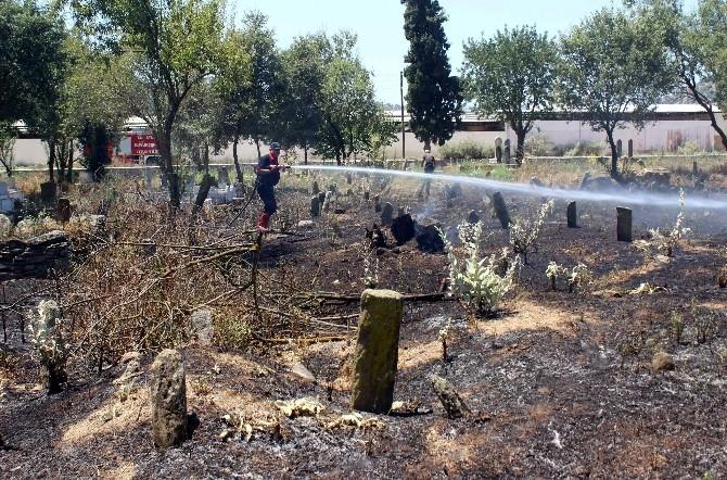 Mezarlıkta Çıkan Yangın Büyümeden Söndürüldü