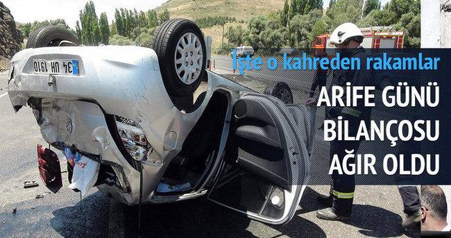 Arife günü meydana gelen trafik kazalarında 20 kişi öldü, 60 kişi yaralandı