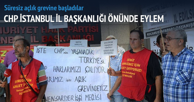 CHP İstanbul İl Başkanlığı önünde açlık grevi