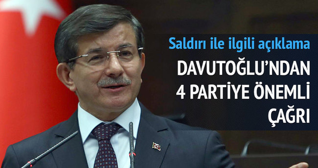 Davutoğlu: 4 partiye çağrı yapıyorum